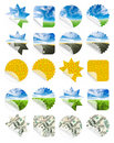Collection of nature stickers Royalty Free Stock Photos