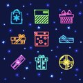 Collection of neon gift box icons