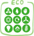 Collection of nine green eco-icons Stock Photography