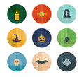 Collection of nine vector halloween icons colorful trendy icon set concept Royalty Free Stock Image