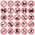 No Stop Sign. No smoking, No Dog or Pets.Set Prohi Royalty Free Stock Photo