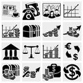 Collection ofbusiness and finance icons set isolated on grey background eps file available Stock Images