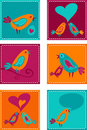 Collection og greeting cards with birds Stock Photography