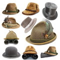 Collection of oktoberfest and hunting hats vintage isolated over white background Royalty Free Stock Image