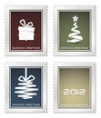 Collection of old  christmas postage stamps Royalty Free Stock Photo