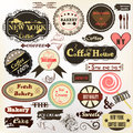 Collection of old styled badges or labels coffee house bakery a vector set vintage for cafe and design Stock Photo