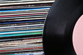 Collection of old vinyl records Royalty Free Stock Photo