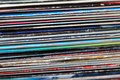 Collection of old vinyl records. Royalty Free Stock Photo