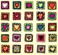 Collection of original drawing doodle hearts template frame design for love card with set Royalty Free Stock Photos