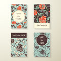 Collection of ornamental colored antique floral card vector temp