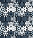 Collection of ornamental hexagonal tiles. Vector seamless patchwork pattern.
