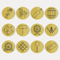 Collection of outline wine icons