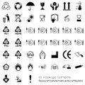 Collection of packaging symbols recycle handle instructions hazard black Stock Images