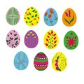 Collection of painted Easter eggs.