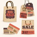 Collection of paper sale price tags with shopping bags design templates vector illustration Royalty Free Stock Image