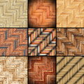 Collection of parquet designs different wooden put together Royalty Free Stock Photography