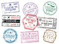 Collection of Passport Stamps Isolated on White