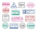 Collection of passport visa stamps isolated on white background. Bundle of travel or touristic marks. Set of round Royalty Free Stock Photo