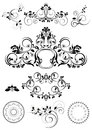 Collection of patterns and round frames collected calligraphic brushes decor for pages Stock Images
