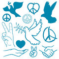 Collection of peace and love themed icons with white doves flying carrying olive branches v sign hand gesture handshake Royalty Free Stock Photography