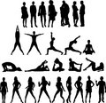 Collection of People Silhouettes Twenty Seven Figu Royalty Free Stock Photo