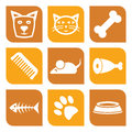 Collection of pet icons vector illustration dogs and cats Stock Photo