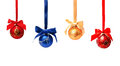 Collection of photos hunging christmas balls isolated Royalty Free Stock Photo