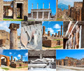 Collection of photos in pompeii italy the eruption ad buried the city preserving details the life a roman city Royalty Free Stock Photo