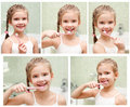 Collection of photos smiling cute little girl brushing teeth