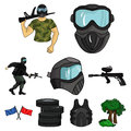 A collection of pictures about the game in paintball. The balloons with paint.Paintball icon in set collection on Royalty Free Stock Photo