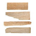 Collection pieces of broken planks isolated on white with clipping path Stock Photos
