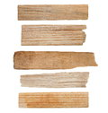 Collection pieces of broken planks isolated on white with clipping path Royalty Free Stock Photo