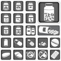 Collection of pills different squared icons Stock Photography