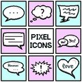 Collection of pixel speech bubbles and dialog balloons on blue and pink background Royalty Free Stock Photo