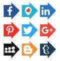 Collection of popular arrow shape social media logos