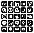 Collection of popular black social media icons