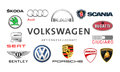 Collection of popular car logos kiev ukraine february printed on white paper volkswagen audi seat bentley bugatti ducati and other Royalty Free Stock Photos