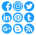Collection of popular circle blue social media logos printed on