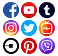Collection of popular circle social media new icons