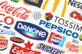 Collection of popular food logos companies kiev ukraine may printed on paper coca cola mars pepsico nestle tesco and others Stock Photo