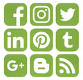 Collection of popular social media icons in greenery color Royalty Free Stock Photo