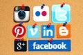 Collection of popular social media logos printed on paper kiev ukraine april facebook twitter google plus instagram flickr linked Royalty Free Stock Images