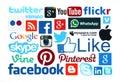 Collection of popular social media logos printed on paper kiev ukraine march facebook twitter google plus instagram skype whatsapp Royalty Free Stock Image