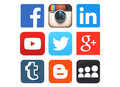 Collection of popular social media logos printed on paper Royalty Free Stock Photo