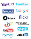 Collection popular social media network logos banners isolated white background Stock Photo
