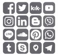 Collection of popular social media rounded gray icons