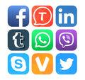 Collection of popular social networking icons printed on paper kiev ukraine february facebook tango linkedin tumblr whatsapp viber Royalty Free Stock Images