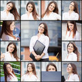 Collection portraits of a beautiful business woman Stock Image