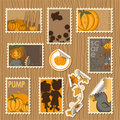 Collection of postal stamps - Pumpkins Royalty Free Stock Photo