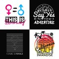 Collection prints for t-shirt. Vector illustration on the theme California, Feminism, Adventure. Fashion Slogan